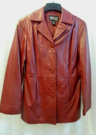 Photo Women39s New York Company 100 Leather Coat SZ M Dark Red Lined Jacket - $30