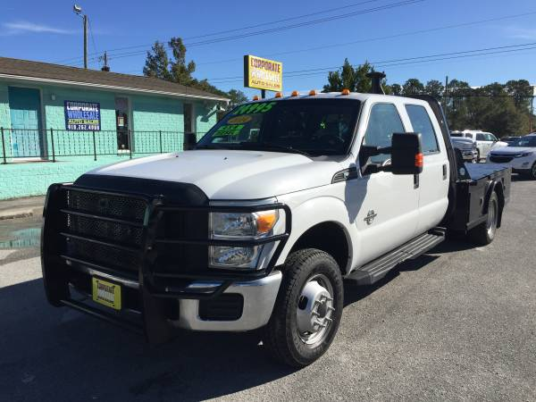 Photo 2014 FORD F350 SUPERCREW CAB 4 DOOR 4X4 839 FLATBED DUALLY 6.7L DIESEL - $21995 (CORPORATE WHOLESALE)