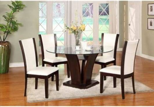 Photo 54 Glass Top Round Table Dining Room Set 5Pcs - $300 (Wilmington)
