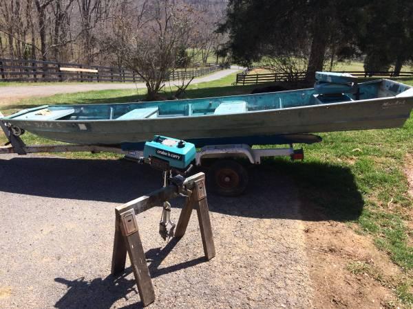 14 ft Aluminum MonArk Jon Boat w/ outboard and trailer - $650