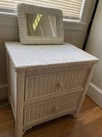 Photo White wicker nightstand with small mirror - $55