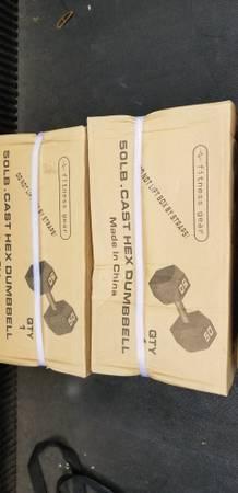 Photo 50 lb hex dumbbells new - $200 (Webster)