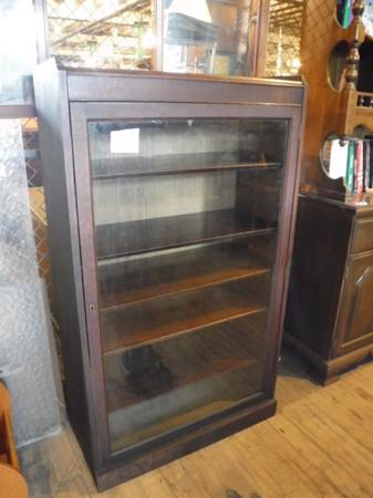 Photo Dark Stained Mixed Hardwood Glass Front Bookcase - $150 (Leominster)