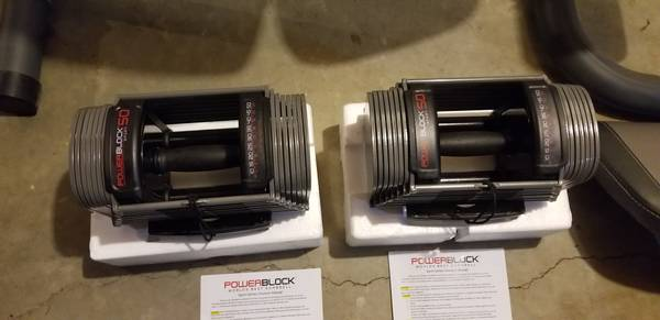 Photo Dumbbell style weight bench and powerblock dumbbells new - $850 (Webster)