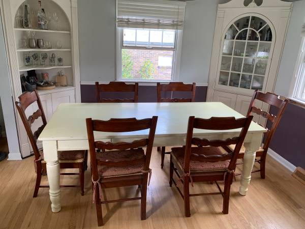 Photo Large Pottery Barn Farm Table with Drawer - $1,500 (Suncrest)
