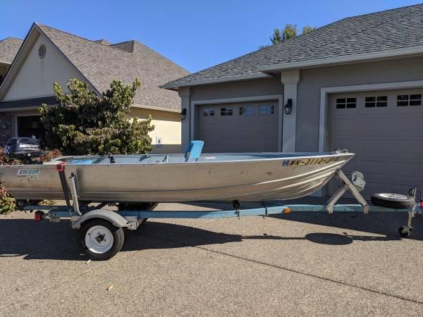 Photo Gregor 14 ft aluminum fishing boat - $3,250 (Yakima)