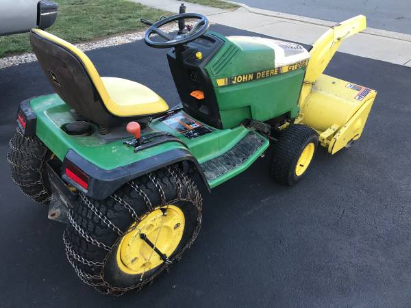 Photo John Deere GT 262 with Snow Blower , Snow Plow . Weights  Chains - $1550 (Frederick md)