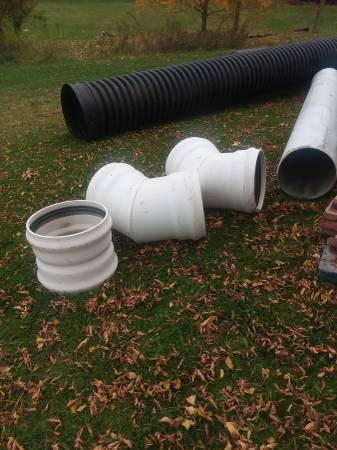 Photo 18quot sewer pipe and fittings - $150 (Parkman)