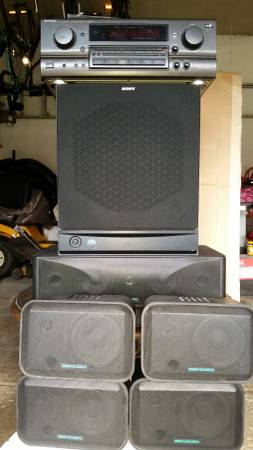 Photo Surround Sound Sony SA-WM40 Subwoofer TechnicsSA-GX670 Design Acoust - $300