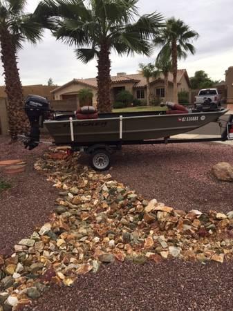Photo 14 ft Aluminum Tracker Boat and Trailer - $5500 (Yuma)