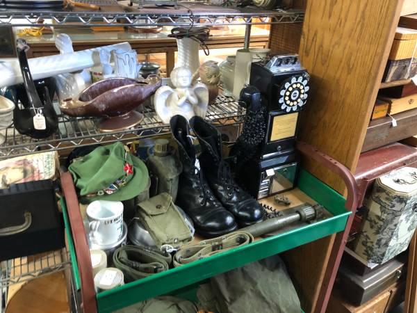 Photo Military Collection- Boots, Shovel, Cloth Bags, Helmets, Hats, Patches (Yuma, Arizona)