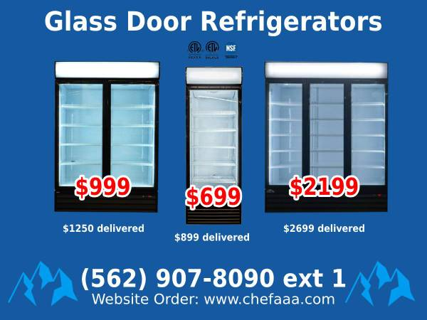 Photo NSF One  Two  Three-door Glass Refrigerator (Restaurant Equipment) - $699 (BRAND NEW)