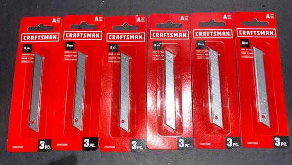 Photo Lot of 6 pks Craftsman 9 MM Snapoff Utility Knife Blades. Total 18 - $10 (Gahanna)